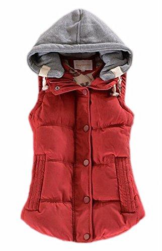 Hooded Winter Thicken Casual Qulited Vest 2 Jacket Women's TTYLLMAO Outwear YUw5x7q