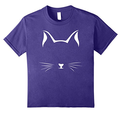 Kids Cute Halloween Kitty Whiskers Shirt - Awesome Cat Lady Tee 8 Purple - Cat Whiskers Halloween