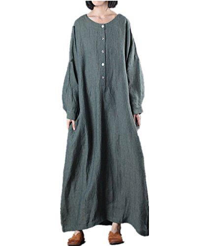 Linen Long Dress - YESNO JR0 Women Long Loose Maxi Button-Up Caftan Dress Casual Plus Size Crew Neck Long Kimono Sleeve Highly Split Back,One Size,Dark Green