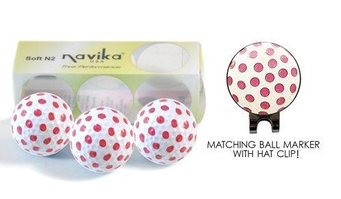Navika Golf Balls- Pink Polka Dot (Sleeve of 3) & Matching Ball Marker w/Hat Clip SET