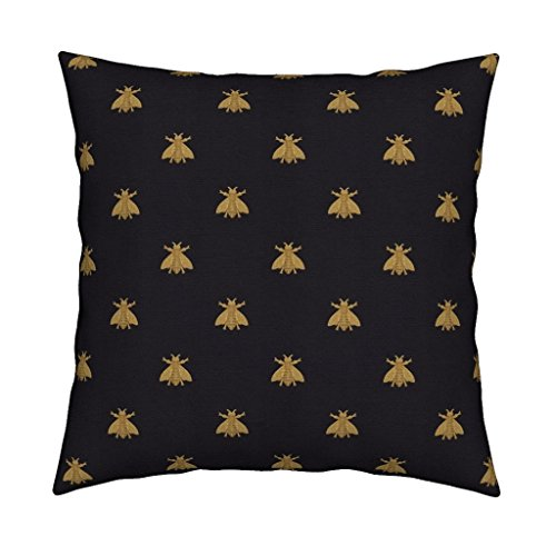 Roostery Bees Velvet Throw Pillow Bees Home Decor Napoleon Bee Gilt Black Antique Gold Honeybees Modern Home Decor by Peacoquettedesigns Cover and Insert Included