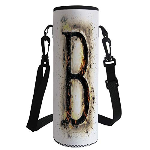 iPrint Water Bottle Sleeve Neoprene Bottle Cover,Letter B,Language Flames Fire Uppercase B with Wild Hot Blurry Effects Symbols Image Decorative,Tan Black Orange,Fit for Most of Water Bottles by iPrint