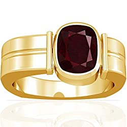 18K Yellow Gold Cushion Cut Ruby Men's Ring