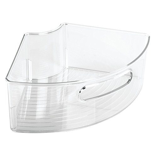 InterDesign Kitchen Binz Lazy Susan Plastic Storage Container with Handle for Organizing Pantry Cabinets – ¼ Small Wedge, Pack of 4, Clear by InterDesign