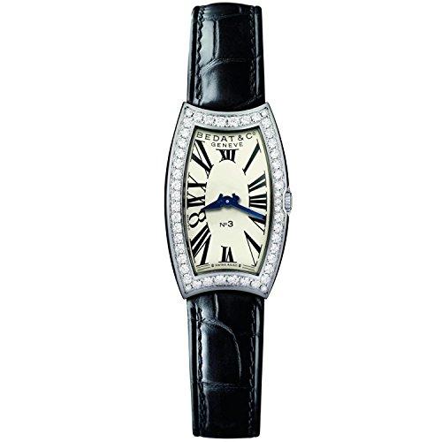 Bedat & Co Women's No.3 Diamond Black Leather Band Steel Case Quartz Silver-Tone Dial Watch 384.060.600