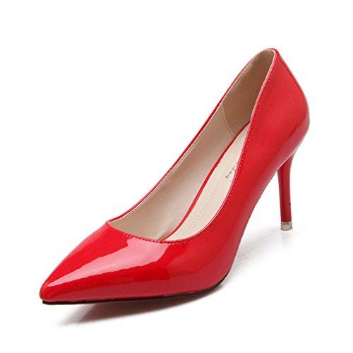 Rouge Ol Talons Transparent Bureau Féminins Travaille Slip Aiguille Mode Escarpin Hauts Couleur Chaussure Pu Habillées On Vernis Chaussures Pure Fashion Respirent 5HRfFqnw