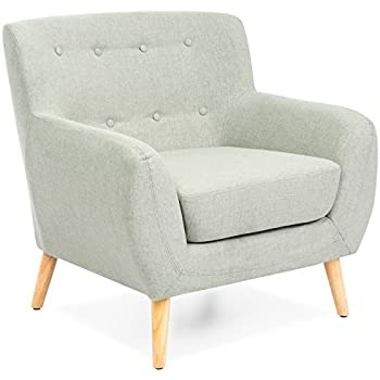 Best Choice Products Mid Century Modern Linen Upholstered Tufted Accent  Chair (Light Gray)