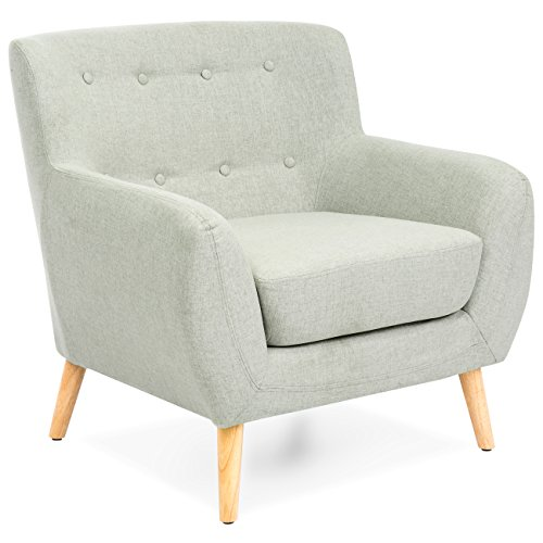 Best Choice Products Mid-Century Modern Linen Upholstered Tu
