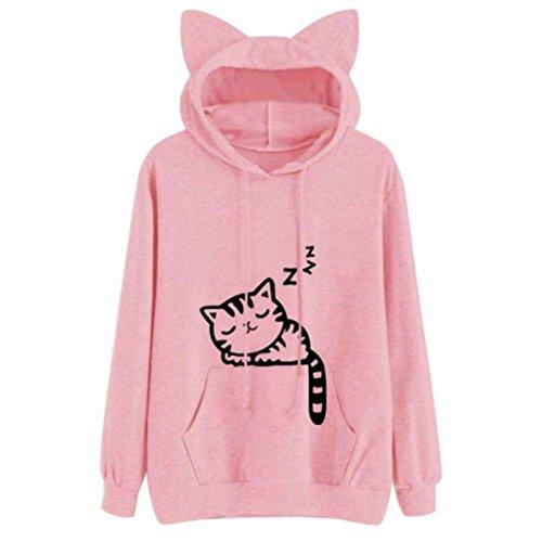Animal Contrast Dress (Women's Animal Cat Sleeping Long Sleeve Hoodie Pullover Casual Cute Sweatshirt Blouse (L, Pink))