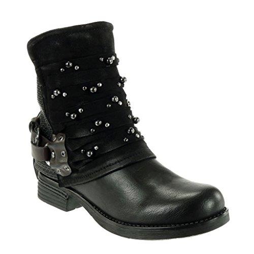 Chaussures Mode Pour Femmes Angkorly Bottines - Butin - Motard - Cavalier - Matériel Bi - Sangles Multi - Clouté - Bloc Tressé Talon 3 Cm Noir