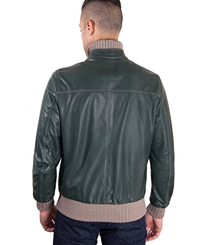 D'arienzo Verde Pelle Giacca Contrasto Vintage 46 In Effetto Bomber Lana A HwqxH