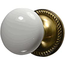 White Porcelain Knob Set with Georgian Roped Rosette in Antique Brass (Privacy Bed / Bath)