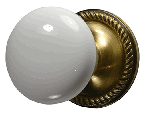 (White Porcelain Door Knob Set with Georgian Rosette in Antique Brass (Privacy (Bed/Bath)))