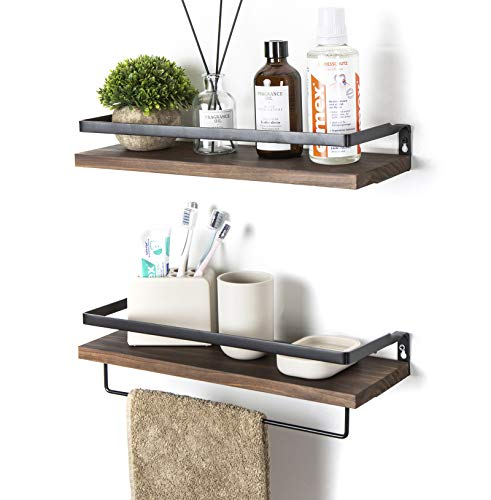 SODUKU Floating Shelves Wall Mounted Storage Shelves for Kitchen, Bathroom,Set of 2 Brown (Bathroom Shelves Wall Wood)