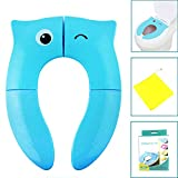 Folding Potty Training Seat, Reusable Potty Seat Covers for Baby - Potty Seat for Travel to Keep Your Baby Safe Blue