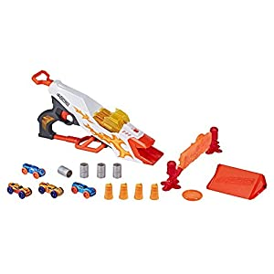 NERF Doubleclutch Inferno Nitro Toy Includes Blaster 4-Foam Body Cars, Double Reactive Target,Double Ramp-8 Obstacles for Kids
