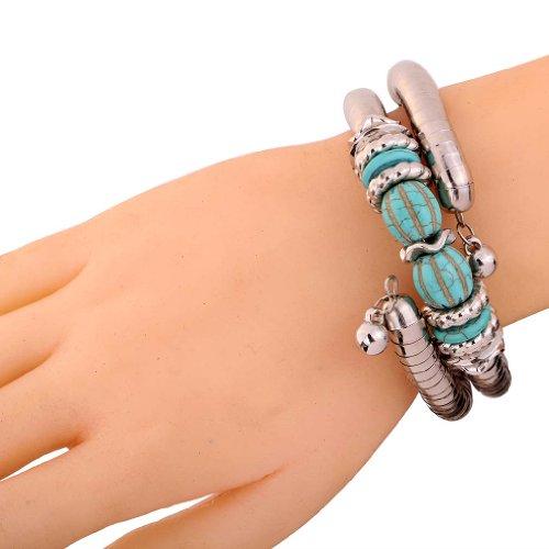 Yazilind bijoux de cru argente tibetain Twisted 2 couche reglable rimous Vert Turquoise bras de bracelet