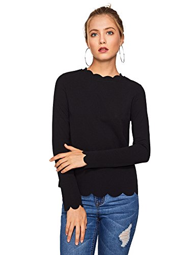 Floerns Womens Solid Color Scallop Trim Long Sleeve T Shirt