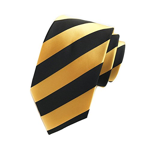 MENDENG Large Striped Yellow Black Red Blue Silk Men Tie Business Party ()