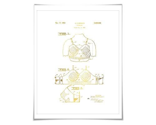 Bra Patent Gold Foil Patent Illustration. 7 Foil Colours. Brassiere. Gold Underwear Poster. Lingerie. Fashion Fashionista
