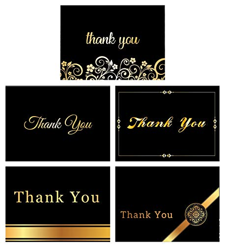 """100 Thank You Cards By Office 247- Luxury Card Set of 5 Black & Gold Designs. Thank You Cards Bulk with Envelopes & Stickers – Blank Inside, 4"""" x 6"""" Thank You Notes for your Wedding, Business &"""