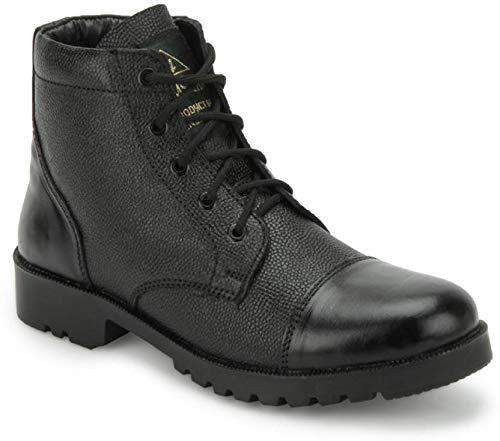 NCC Men's Black Leather Commando Shoes