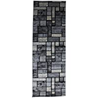 Msrugs Elegant Design Contemporary Runner Rug For Hallway Styled With Best Machine Made Runner Rug Heavy Duty for Bedroom, Stairs and Hallway Area (3x8, Grey)