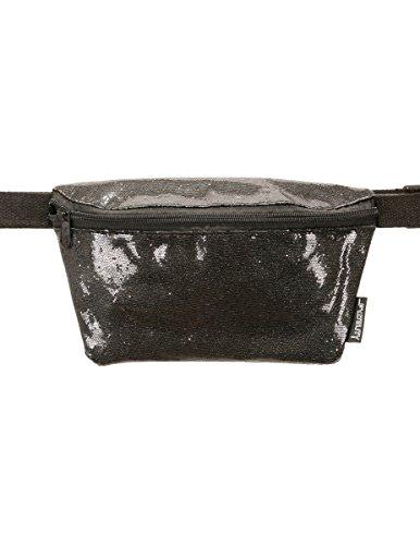 FYDELITY Fanny Pack Waist Belt Bag Ultra-Slim Holographic: GLAM BLACK GLITTER