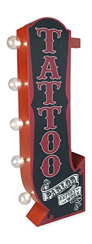 (Tattoo Parlor Arrow Metal Marquee Sign With Large Led Lights, Red & Black, Double Sided, and 3 Dimensional, Wall Decor That Displays Off The Wall In The Home, Bar, Business, Garage, or Man Cave)