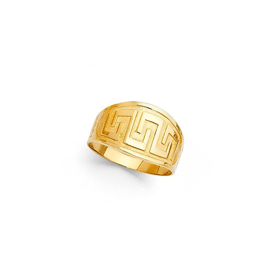 14k Yellow Gold Greek Design Ring Tapered Band Diamond Cut Polished Finish Genuine Solid 11MM