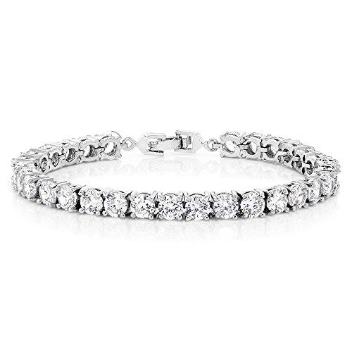 (Sparkling Multi-Color Round Cubic Zirconia CZ Women's Tennis Bracelet (7.50 cttw, 7 Inch), White)