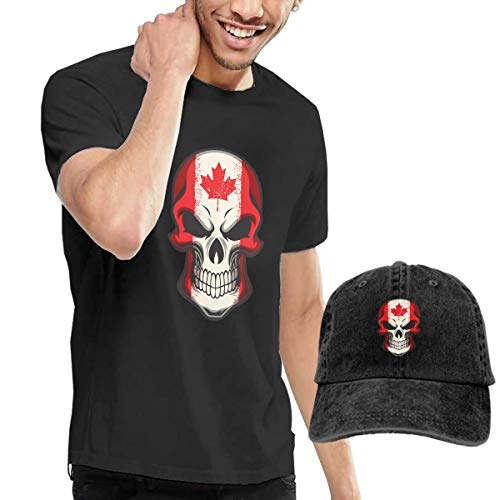 Men's Canada Flag Painted On Skull T Shirt Short Sleeve and Unisex Adjustable Trucker Baseball Hat Caps XXL Black