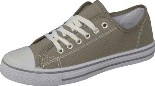 Click2Deal - Damen Frauen Mädchen Leinen Turnschuhe Flach Fitnessschuhe Sneaker Pumps Zum Schnüren - Grau, 3 UK / 36 EU