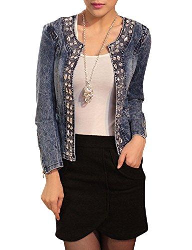Rhinestone Jackets For Women - Dasior Women's Collarless Slim Fit Denim Jacket Coat with Rhinestone Decoration XL Blue