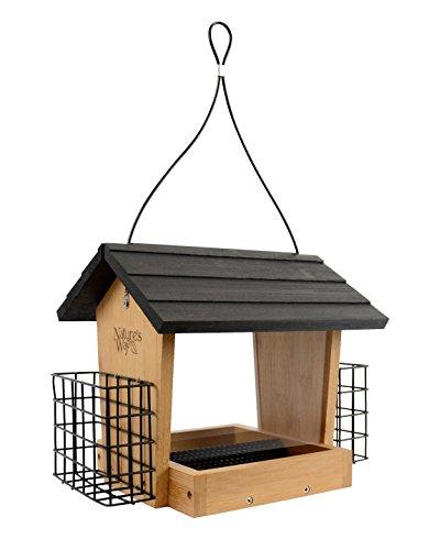 Bird Garden Bamboo Feeder - Nature's Way Bird Products BWF16 Bamboo Hopper Bird Feeder with Suet Cage, 4-Quart
