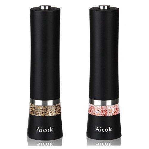 Aicok-Salt-and-Pepper-Grinder-Electric-Stainless-Steel-Pepper-Mill-and-Salt-Mills-with-Adjustable-Coarseness-2er-Set-Black