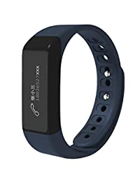 CEStore® I5 Plus Ultra Light Bluetooth V4.0 Waterproof IP65 Wearable Wrist Bands Health Fitness Smart Bracelet w/ Pedometer Tracking, Sleep Monitor, Sedentary Reminder, Call ID Display-Dark Blue