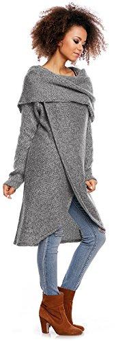 Zeta Ville - Suéter Jersey de Punto Pulóver Diseño de Doble Capa - mujer - 359z Gris Oscuro Mezcla
