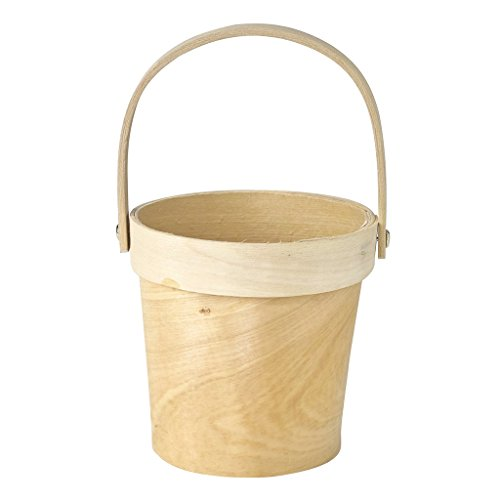 Time Concept Mercato Wood Plant Basket with Handle - Medium - Natural Cream Color, Home Planter Décor
