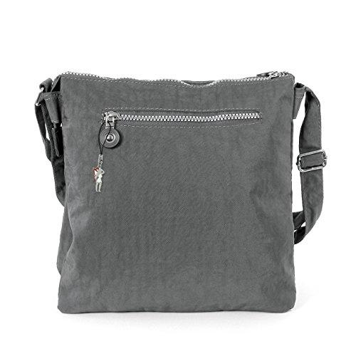 SilberDream Umhängetasche, Schultertasche Handtasche crinkle Nylon grau OTJ207K