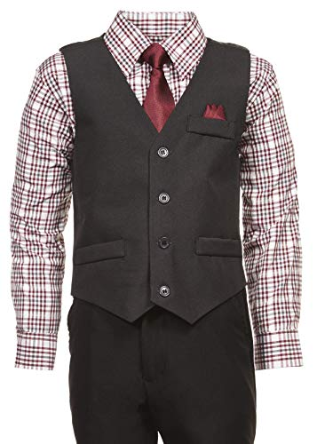 Vittorino Boys 4 Piece Holiday Suit Set with Vest Shirt Tie Pants and Hankerchief, Charcol Plaid Burgundy, 2T -