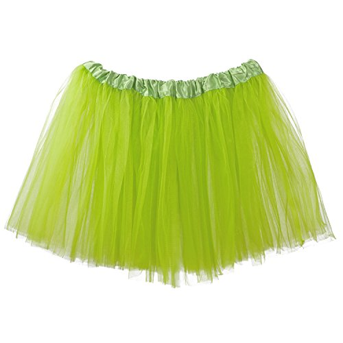 My Lello Adult Tutu Skirt, Classic Elastic 3 Layer Tulle Tutu for Women and Teens - Apple Green