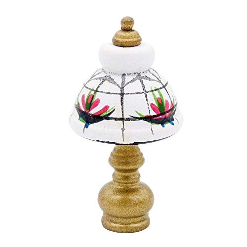 Odoria 1:12 Miniature White Table Lamp Reading Lamp with Golden Base Dollhouse Decoration Accessories