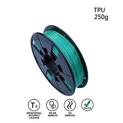 LEE FUNG 1.75mm TPU 3D Printing Filament, Dimensional Accuracy +/- 0.05mm, 0.55 LBS (0.25KG) Spool,1.75 mm 3D Filament for Most 3D Printer & 3D Printing Pen (Green)