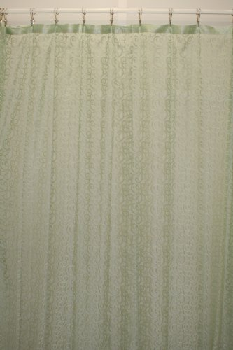 Aria Lace Fabric Shower Curtain 72Wx72L-Seafoam