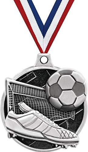 1.5インチ サッカーメダル - シルバー サッカー チャレンジャー 賞 メダル プライム B07GK6HC8Y