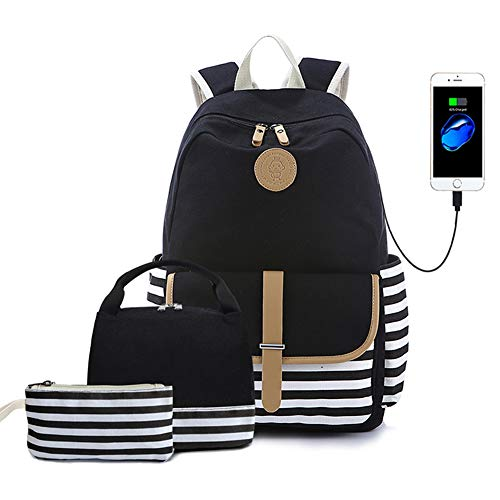 Lmeison Backpack Set, Canvas Unisex Bookbags 14
