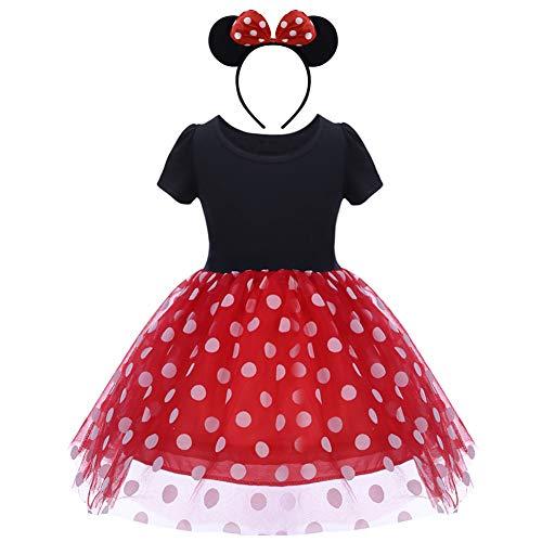 MYRISAM Baby Girls Polka Dots Minnie Birthday Tutu Dress Christmas Halloween Carnival Dress Up Costumes Red 5 Years]()