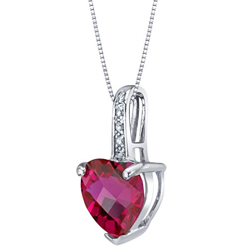 Shaped Pendant Birthstone Heart - 14K White Gold Created Ruby and Diamond Heart Pendant 2.50 Carats