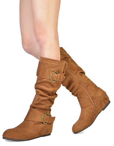 DREAM PAIRS Women's URA Tan Suede Knee High Low Hidden Wedge Boots Wide Calf Size 9 M US